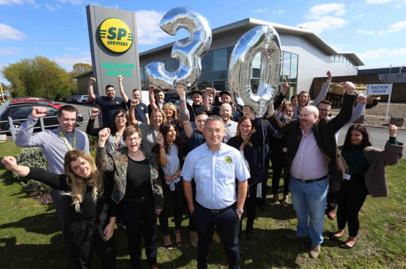 MD Steve Bray and staff celebrate SP Services 30th anniversary supplying medical equipment around the UK and the world