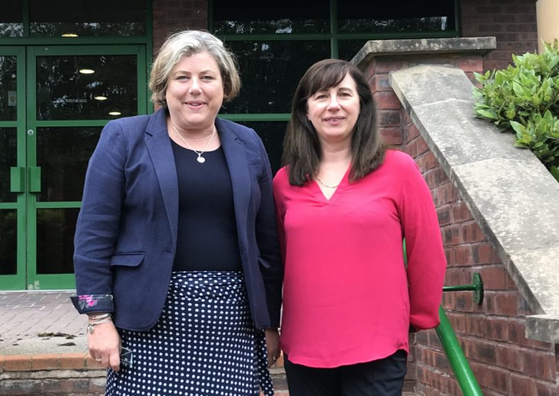 Sally Themans (left) of Good2Great with Tracey Westbury outside her offices