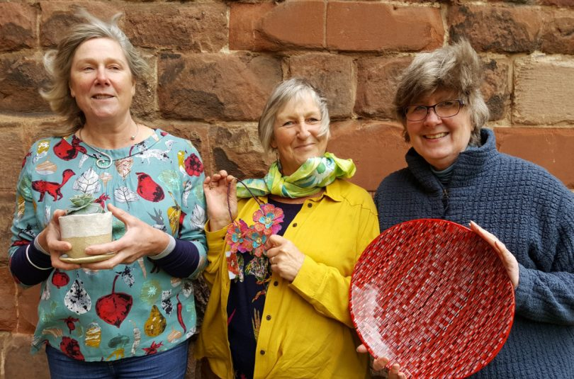 From left, Vicky Ware who specialises in ceramics; Nicola Haigh, who produces textiles and Jill Bagnall, who works with glass