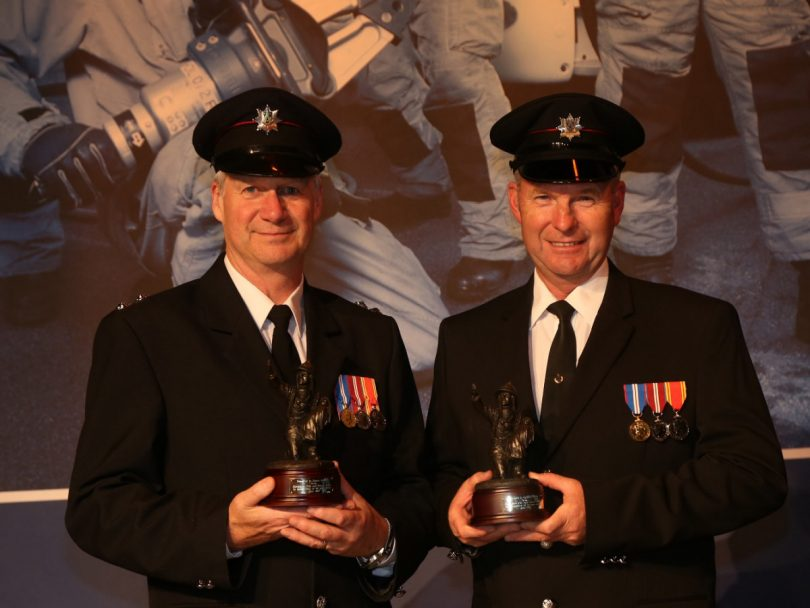 Simon Griffiths, watch manager at Whitchurch and Graham Dudley based at Clun Fire Station have been in the service for 40 years