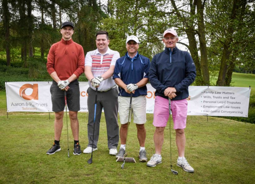A team taking part in the charity golf day hosted by Shropshire-based legal specialists Aaron & Partners
