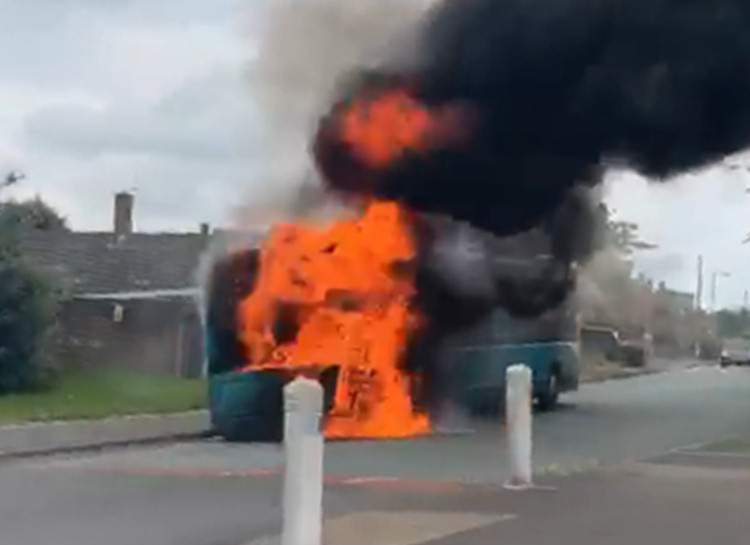 The bus caught fire whilst travelling along York Road in Shrewsbury. Photo: Facebook User