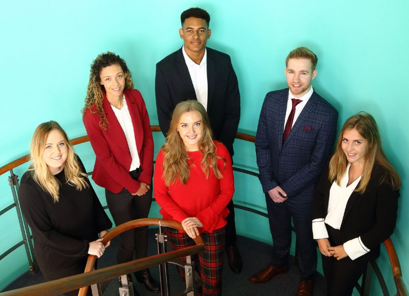 Beth Edwardes, Cauren Taylor, Maddison Smith, Vince Green, Thomas George, and Amy Copp – the new trainees at Dyke Yaxley Chartered Accountants in Shrewsbury