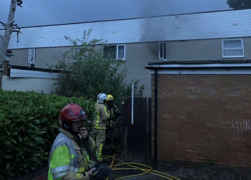 Firefighters work at the scene of the fire in Sutton Hill. Photo: SFRS_cjackson