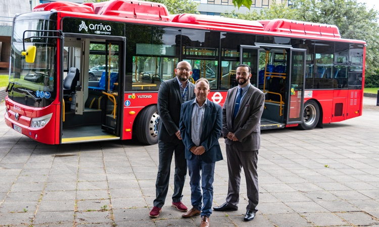 Pictured with the electric bus are James Willocks and Councillor Simon Harris from Shropshire Council, with Jamie Crowsley from Arriva Shropshire. Photo: Shropshire Council