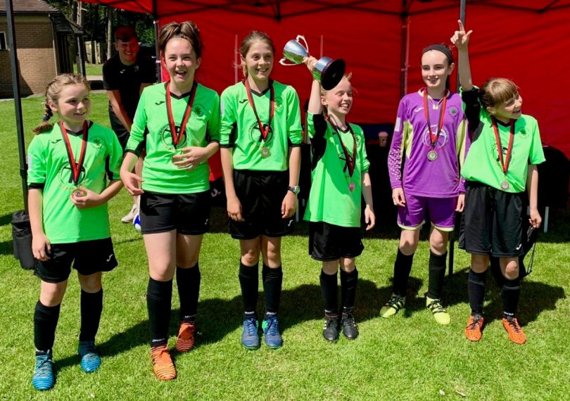 Greenfields Primary School celebrate winning the girls competition in the Crossbar Cup