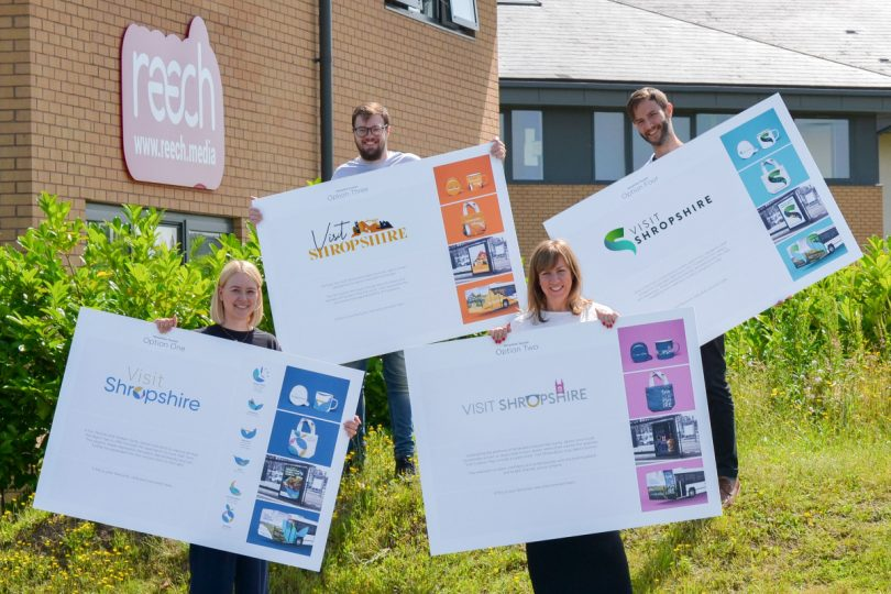 Members of the Reech Media team with the four 'Visit Shropshire' branding designs
