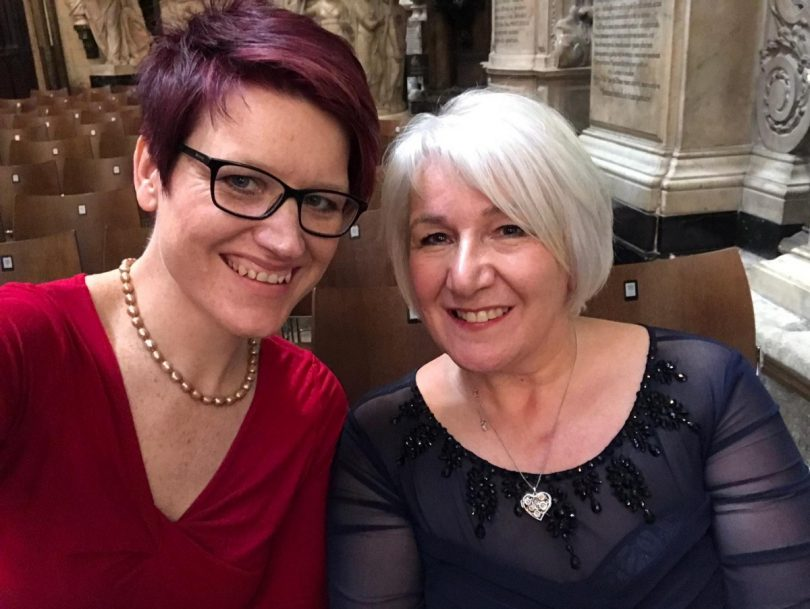 Hayley Jones and Karin Evans at Westminster Abbey for the commemoration service