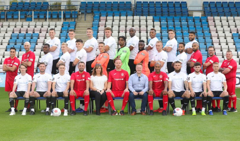 The new sponsorship shows Reech Media on the sleeve of all the Telford United kits