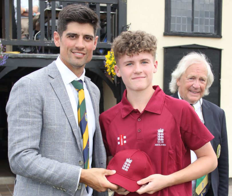 Harry Cooke from North Shropshire getting his Bunbury cap from Alastair Cook recently