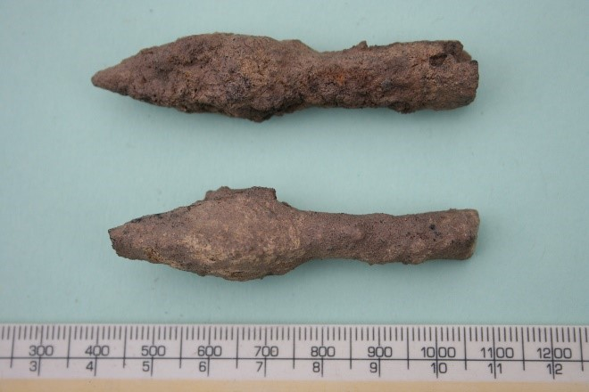 Armour piercing arrowheads dating to 1100 – 1400. Photo: Shropshire Council