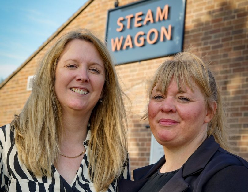 Punch Development Manager, Dolores Quigley and Publican Victoria Martin outside the Steam Wagon