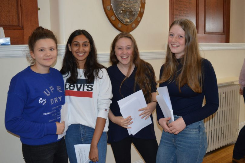 Shrewsbury High School  students collect their results