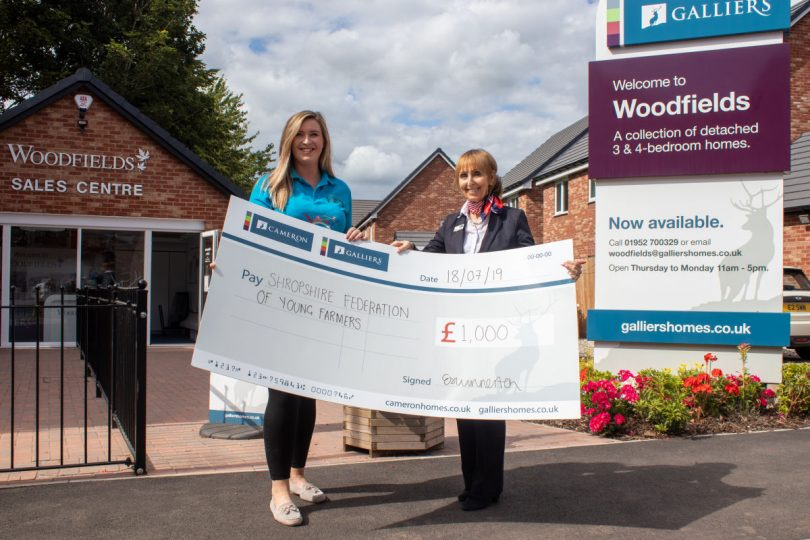 Pictured from left, Jessica Powell from the Shropshire Federation of Young Farmers' Clubs receives a £1,000 sponsorship cheque from Janet Graves, Galliers' sales advisor at their Woodfields development in Hinstock