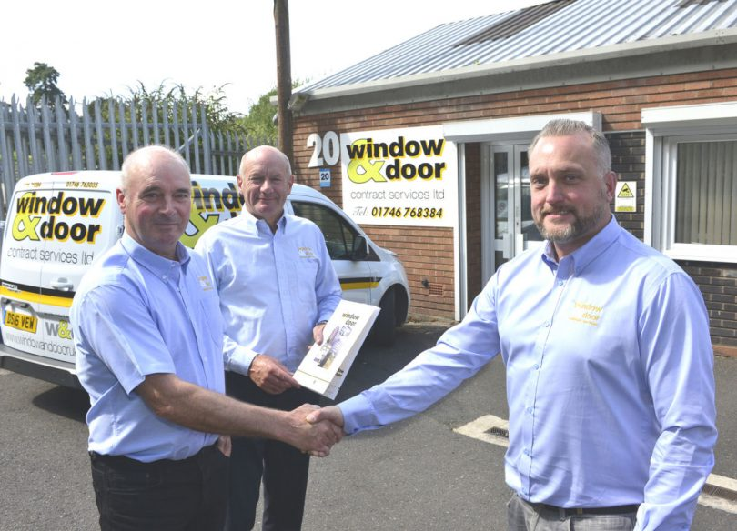 Ben Hickman (right) is welcomed by Roland Davies (left) and retiring director Mervyn Davies