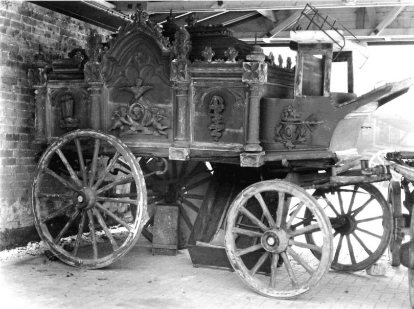 The hearse pictured in a poor condition in 1986. Photo: Staffordshire Museum Service