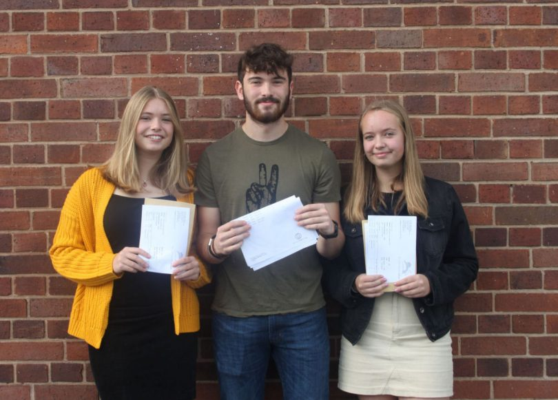 Students collect their GCSE results at Sir John Talbot's School in Whitchurch