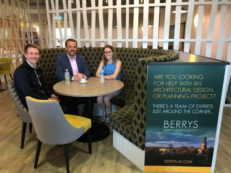 Jon Gidney, left, the marketing manager at The Shrewsbury Club, with Stuart Thomas and Melissa Evans from Berrys