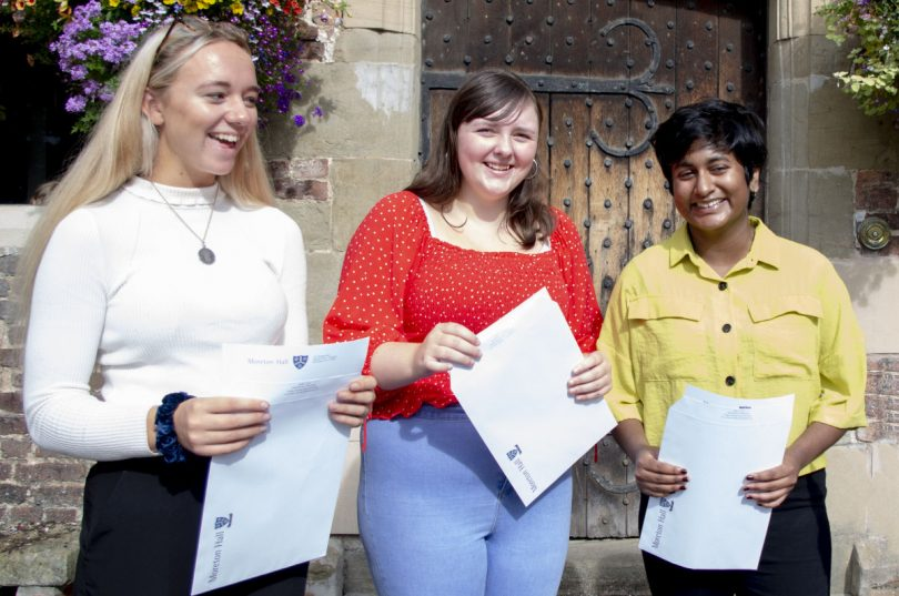 Charlotte Brown, Abby Watkinson and Simran Sajan collect their GCSE results
