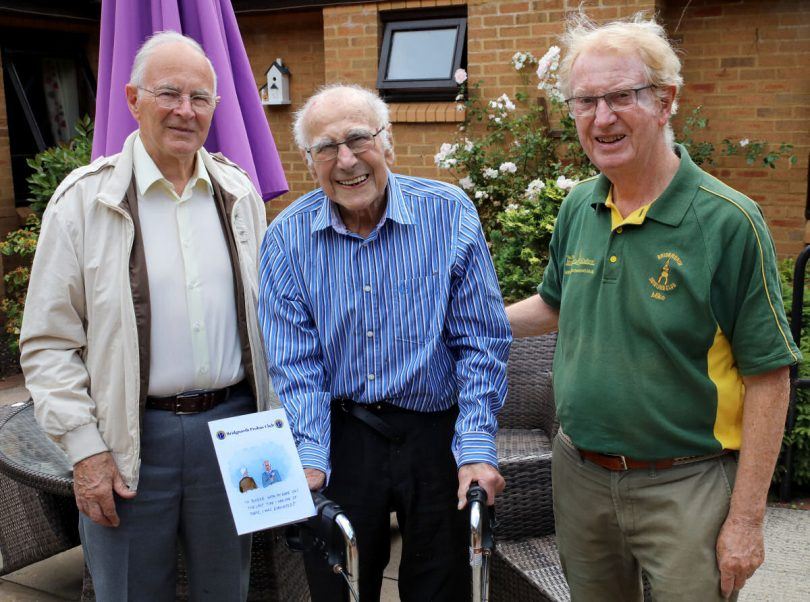 Maurice with his Probus Card, flanked by Lewis Salt (Chairman) and Mike Duke (President). Photo: Mike Purnell