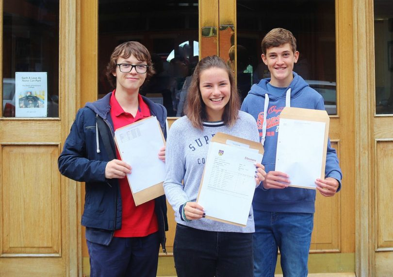 Ellesmere College students Ronan Phillips, Kezia Hutchings and Aaron Davies