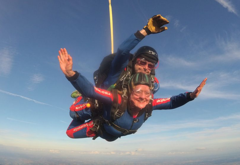 Sally Raw Rees during her skydive in Tilstock, Whitchurch