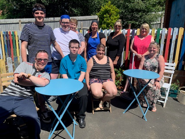 Yvette and the Working Together team enjoying the sunshine at the Rockspring Centre