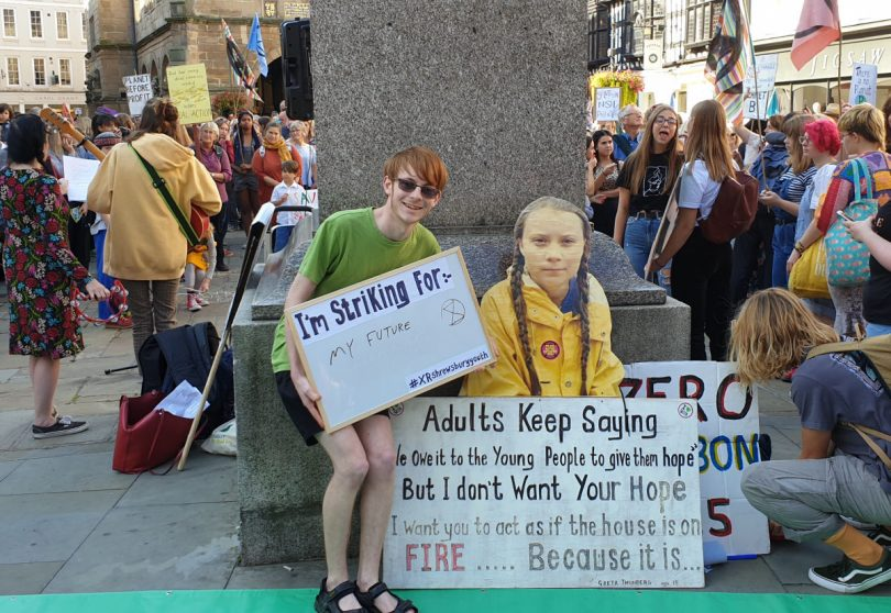 A cardboard cutout of Swedish climate activist Greta Thunberg proves popular