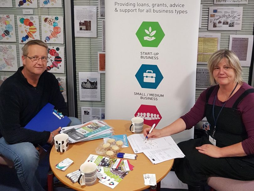 Alan Roberts with Anna Sadler, from the Marches Growth Hub Shropshire, at the Wem event