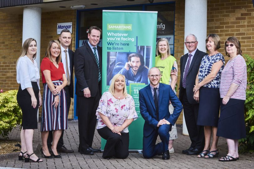Anne Tuckley from The Samaritans with Nick Playford and colleagues from mfg Solicitors