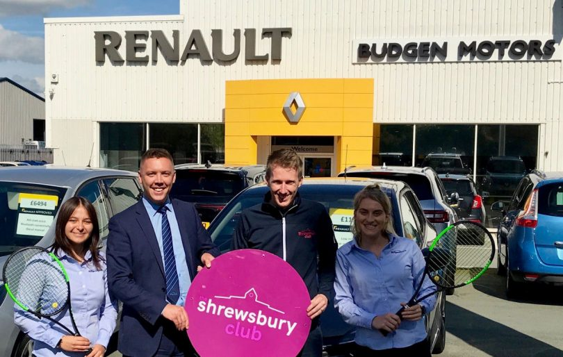 Jon Gidney, second right, the marketing manager at The Shrewsbury Club, with members of the Budgen Motors team, from left, Jessica Mason, Sam Owen, the sales director, and Georgia Evans as they look ahead to the Budgen Motors World Tour M25 Shrewsbury tournament
