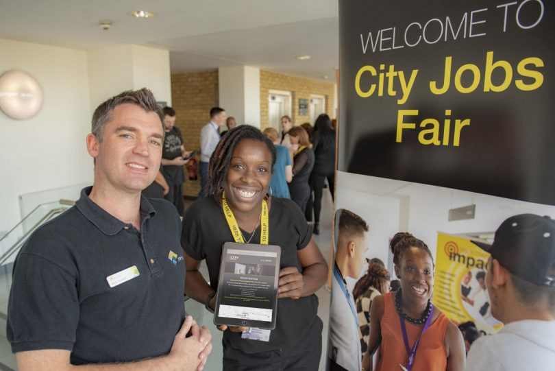 Andy Hodnett from Yarrington and Sarah Prescott from City of Wolverhampton Council at the City Jobs Fair