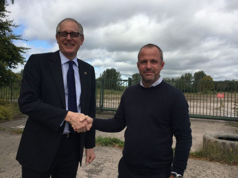 Councillor David Wright, Telford & Wrekin Council's cabinet member for Housing, at a stalled site with Gavin Ashford, the council's Strategic Planning Team Leader. Photo: Telford & Wrekin Council