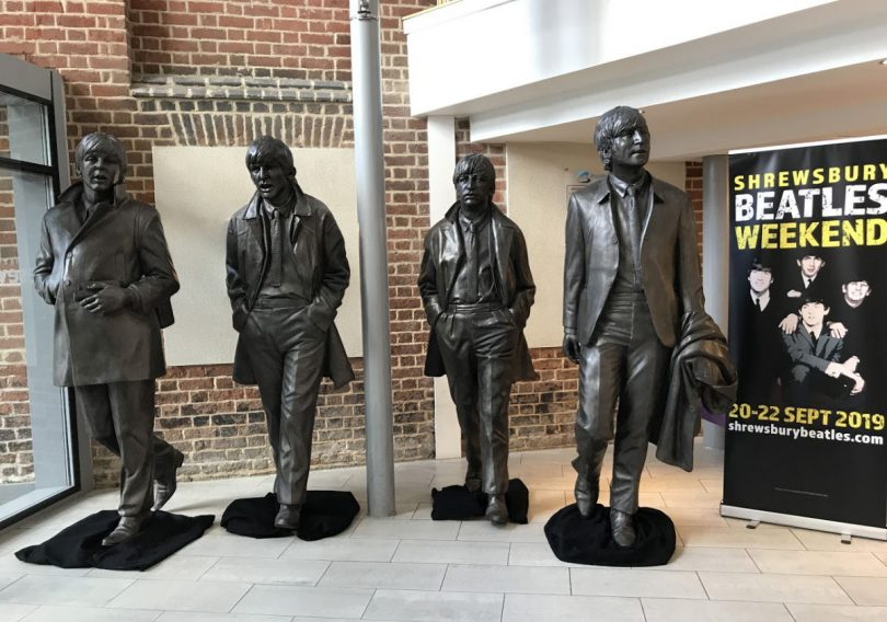 The Beatles statues at Theatre Severn. Photo: Chris Pritchard