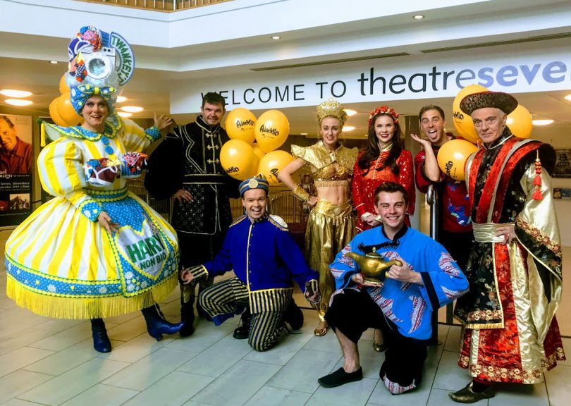 The cast of Aladdin at Shrewsbury's Theatre Severn. Photo: Chris Pritchard