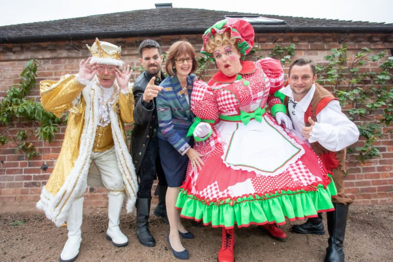 Councillor Rae Evans with the Jack and the Beanstalk cast. Photo: Telford & Wrekin Council