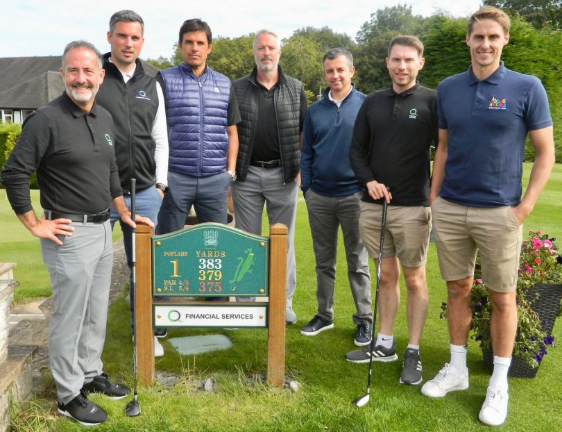 Pictured, from left, Mitch Gough and Steve Parry, both from Q Financial Services and trustees of the Little Rascals Foundation, former Wales manager Chris Coleman and his assistant Kit Symons, Sky Sports reporter Johnny Phillips, Ben Wootton and Dave Edwards, who launched the Little Rascals Foundation together in 2017, at the charity golf day at Wrekin Golf Club