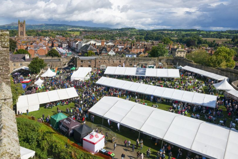 Ludlow Food Festival is held in the stunning historic surroundings of the town's medieval Castle. Photo: Shropshire and Beyond