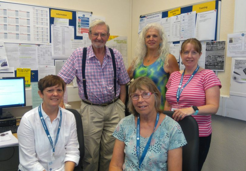 Members of the Oswestry team include, left to right, Hannah (volunteer), John (adviser), Helen (volunteer), Jackie Jeffrey (Chief Executive Officer), Alison Edwards (Advice Session Supervisor)