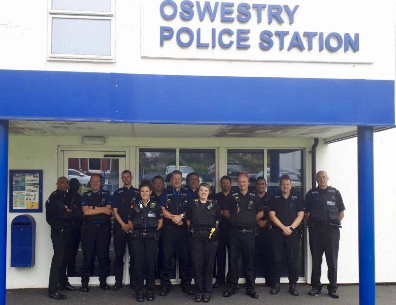 Officers pictured outside Oswestry Police Station in Park Street. Photo: West Mercia Police