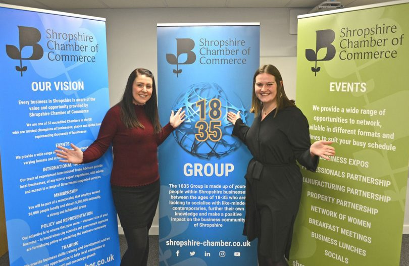 Rachel Owen, Relationship Manager at the Shropshire Chamber and Amelia Ebdon, Marketing Manager at Network Telecom and the Chairperson of the 1835 Group for 2019/20