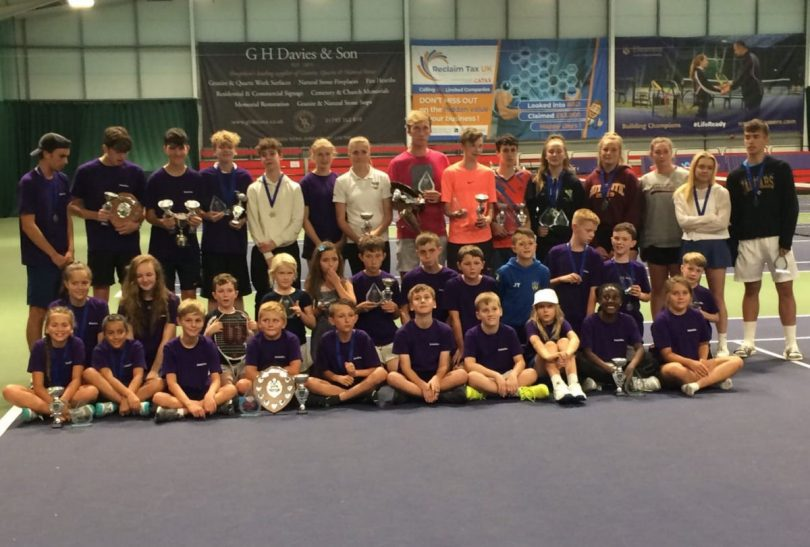 Some of the winners and runners-up at Tennis Shropshire's County Championships on court at The Shrewsbury Club