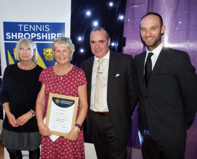 Broseley's Pat Clarke was named as Shropshire's volunteer of the year in 2018 before also being selected as a regional winner. Pat, second left, received her county prize at Tennis Shropshire's presentation dinner, from, left, Jilly Broadbent, the Tennis Shropshire president, Shrewsbury Town FC chief executive Brian Caldwell and Adam Wharf, the director of performance tennis at The Shrewsbury Club
