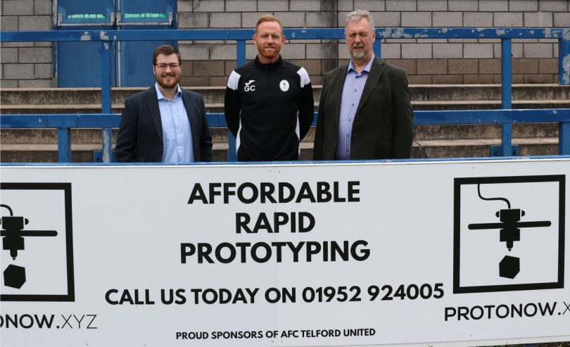 A win-win deal . . . ProtoNow.xyz directors Thomas Hoof and Peter Roberts at the Bucks Head with AFC Telford United manager Gavin Cowan