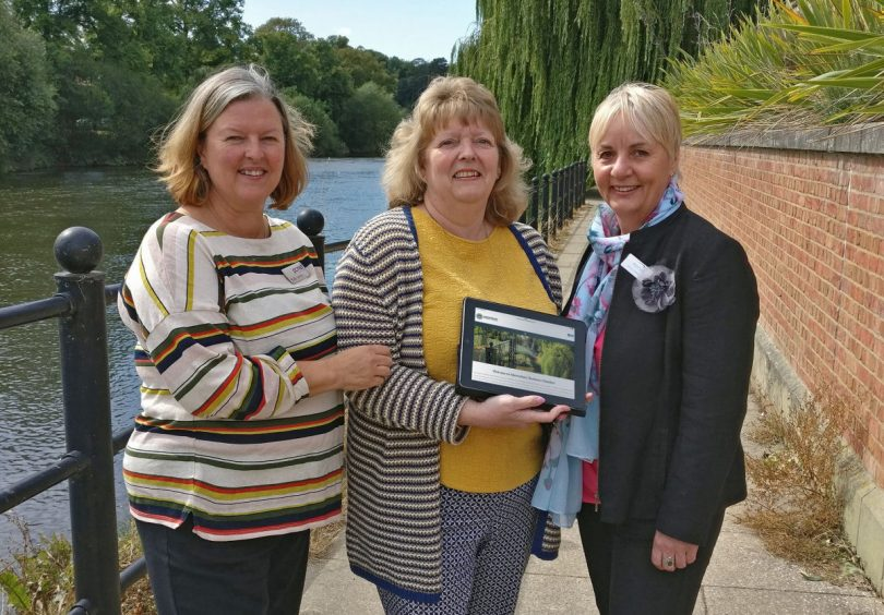 Katy Jones from PC Net Solutions, Shirley Davies from Yarrington and Jenny Osborne from Henshalls have a look at the new website