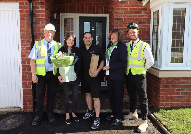 From left Roger Beckett from Shropshire Homes, Paul and Gemma Lincoln, along with Jean Palladini and Danny Farmer from Shropshire Homes