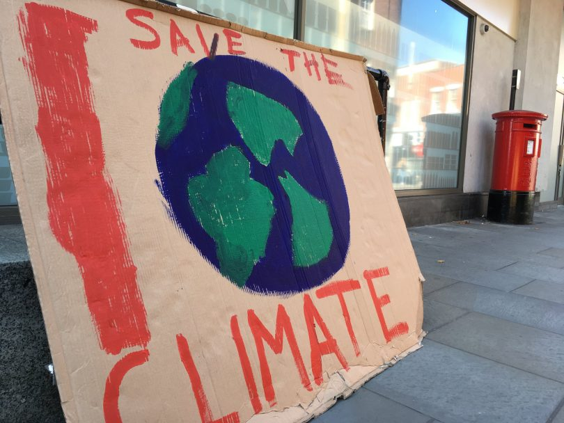 A Save the Climate sign pictured in Shrewsbury last month