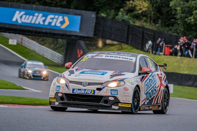 Rob Smith on the track at a rain-hit Brands Hatch Grand Prix Circuit in Kent. Photo: DSdigital/Dickon Siddall