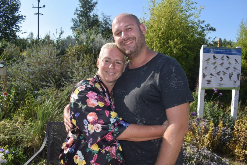 Carla and husband Wes Lea enjoying the hospice gardens