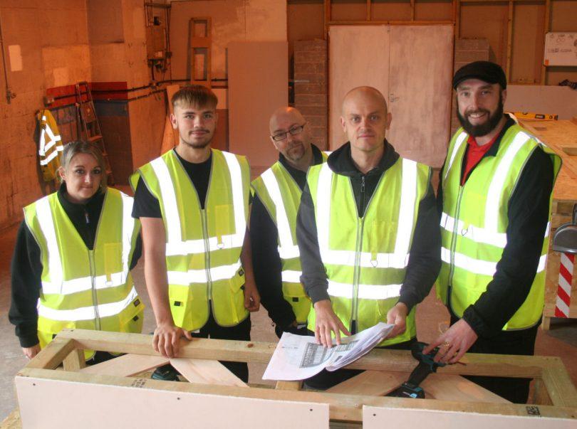 Simone Hitchin, Jayden Jones and Leon Tomkinson with trainee supervisor Paul Wootton and construction tutor Richard Tart